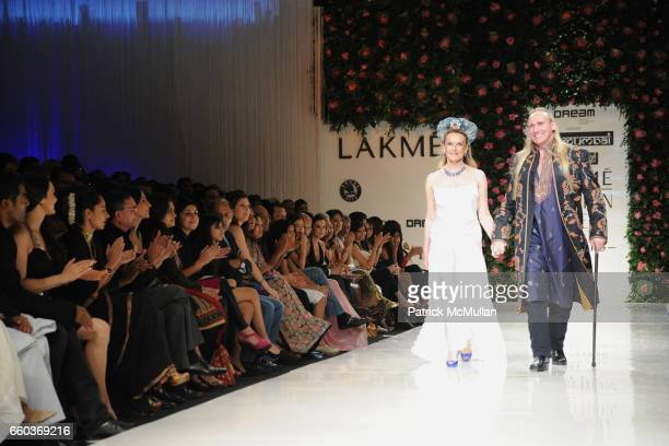 Princess Francoise Sturdza and Gregory David Roberts attend VIKRAM CHATWAL HOTELS Presents MAI MUMBAI with Fashion For Relief at LAKME FASHION WEEK...