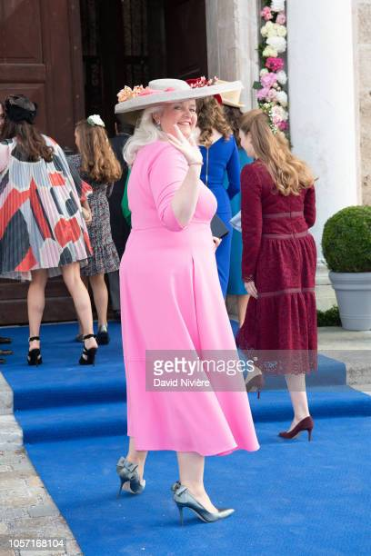 Princess Furstin Mathilde of WaldburgZeil arrives at the SaintQuirin Church for the wedding of Duchess Sophie of Wurttemberg and Count Maximilian of...