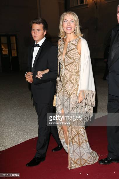 Princess Gabriele zu Leiningen and her son Prince Aly Muhammad Aga Khan during the 'Aida' premiere attend the Salzburg Opera Festival 2017 on August...
