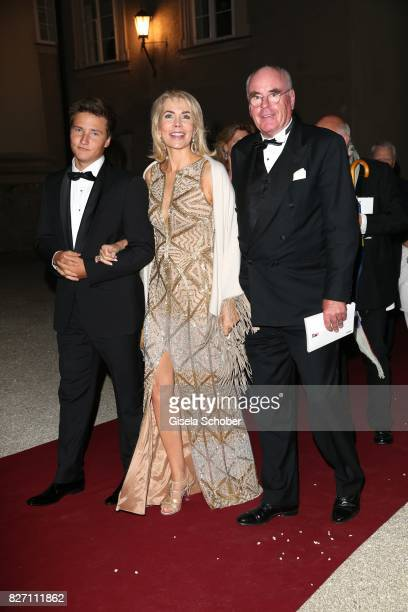 Princess Gabriele zu Leiningen and her son Prince Aly Muhammad Aga Khan and Dr Wolfgang Seybold during the 'Aida' premiere attend the Salzburg Opera...