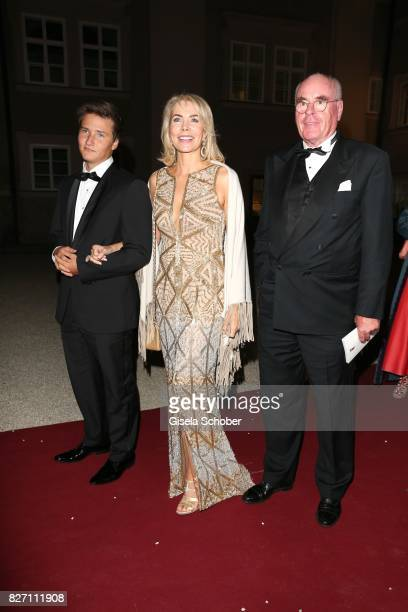 Princess Gabriele zu Leiningen and her son Prince Aly Muhammad Aga Khan and Dr Wolfgang Seybold attend the 'Aida' premiere during the Salzburg Opera...