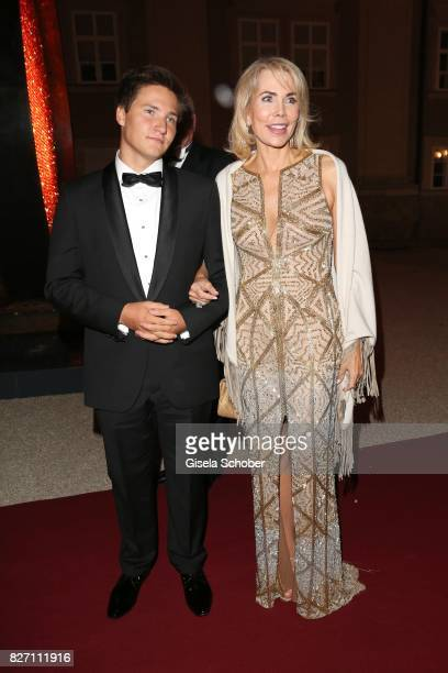 Princess Gabriele zu Leiningen and her son Prince Aly Muhammad Aga Khan attend the 'Aida' premiere during the Salzburg Opera Festival 2017 on August...