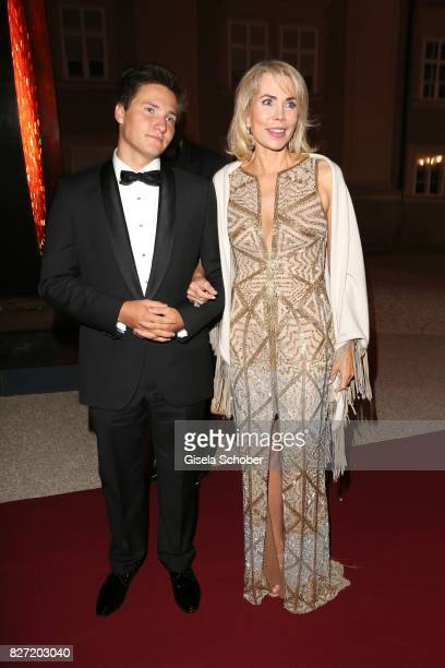 Princess Gabriele zu Leiningen and her son Prince Aly Muhammad Aga Khan during the 'Aida' premiere during the Salzburg Opera Festival 2017 on August...