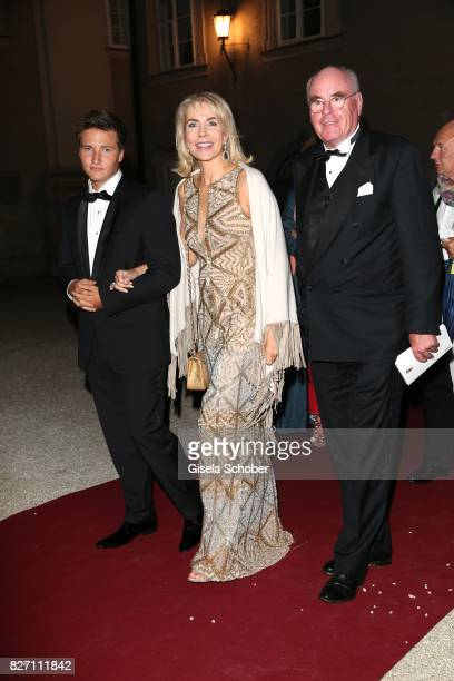 Princess Gabriele zu Leiningen her son Prince Aly Muhammad Aga Khan and Dr Wolfgang Seybold attend the 'Aida' premiere during the Salzburg Opera...