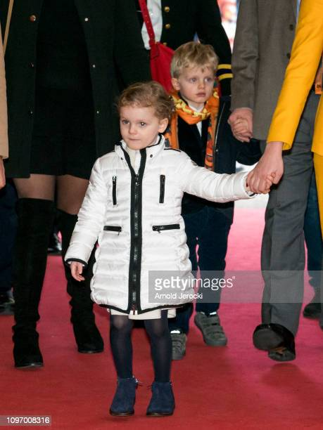 Princess Gabriella and Prince Jacques attend the 43rd International Circus Festival of MonteCarlo on January 20 2019 in Monaco Monaco