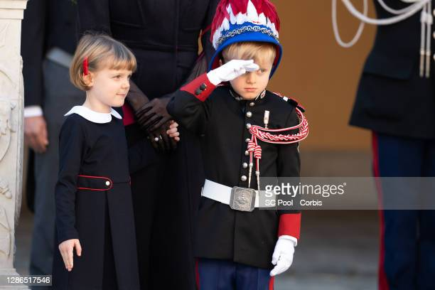 Princess Gabriella of Monaco and Crown Prince Jacques of Monaco attend the celebrations marking Monaco's National Day at the Monaco Palace, on...