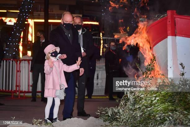 Princess Gabriella of Monaco and Prince Albert II of Monaco attend the Sainte Devote Ceremony on January 26, 2021 in Monaco, Monaco. Sainte devote is...