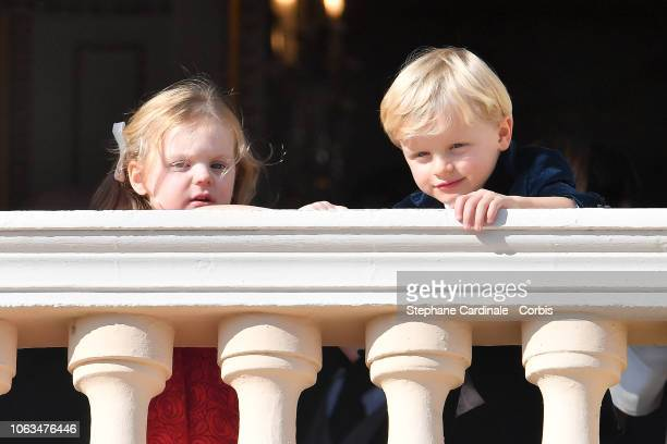 Princess Gabriella of Monaco and Prince Jacques of Monaco attend Monaco National Day Celebrations on November 19, 2018 in Monte-Carlo, Monaco.