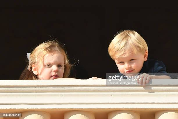 Princess Gabriella of Monaco and Prince Jacques of Monaco attend the Monaco National day parade on November 19 2018 in MonteCarlo Monaco