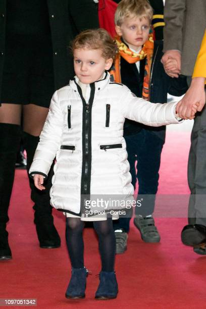 Princess Gabriella of Monaco and Prince Jacques of Monaco attend the 43rd International Circus Festival of MonteCarlo on January 20 2019 in Monaco...