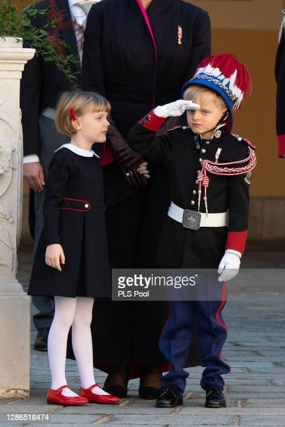 Princess Gabriella of Monaco and Prince Jacques of Monaco attend the Monaco National day celebrations in the courtyard of the Monaco palace on...