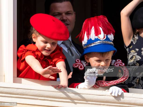 Princess Gabriella of Monaco and Prince Jacques of Monaco stand at the Palace balcony during the Monaco National Day Celebrations on November 19 2019...