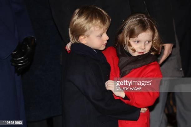 Princess Gabriella of Monaco and Prince Jacques of Monaco take part in Sainte-Devote festivities in Monaco on January 26, 2020. - Saint Devote is the...
