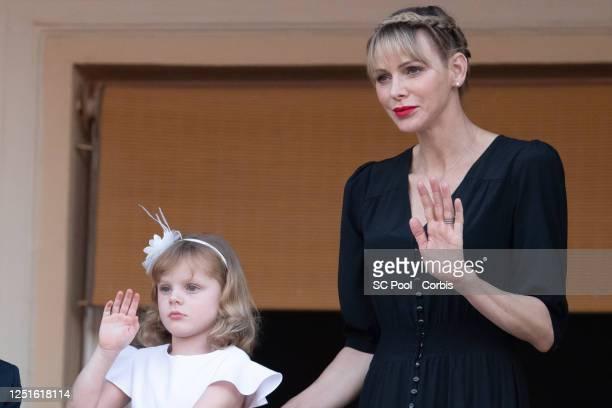 Princess Gabriella of Monaco and Princess Charlene of Monaco attend the Fete de la Saint Jean on June 23, 2020 in Monaco, Monaco.