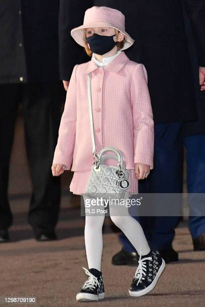 Princess Gabriella of Monaco attends the ceremony of Sainte-Devote on January 26, 2021 in Monaco, Monaco.