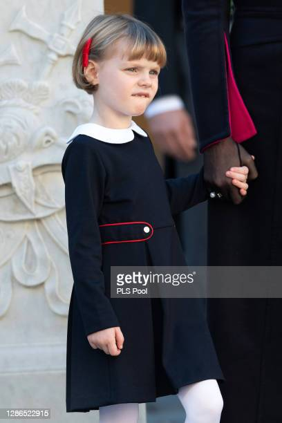 Princess Gabriella of Monaco attends the Monaco National day celebrations in the courtyard of the Monaco palace on November 19, 2020 in Monte-Carlo,...