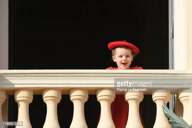 Princess Gabriella of Monaco pose at the Palace balcony during the Monaco National Day Celebrations on November 19 2019 in MonteCarlo Monaco