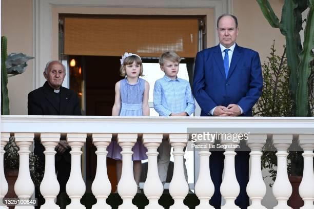Princess Gabriella of Monaco, Prince Jacques of Monaco and Prince Albert II of Monaco attend the Fete de la Saint Jean on June 23, 2021 in...