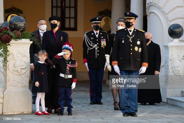 Princess Gabriella of Monaco, Princess Charlene of Monaco, Crown Prince Jacques of Monaco, Princess Caroline of Hanover and Prince Albert II of...