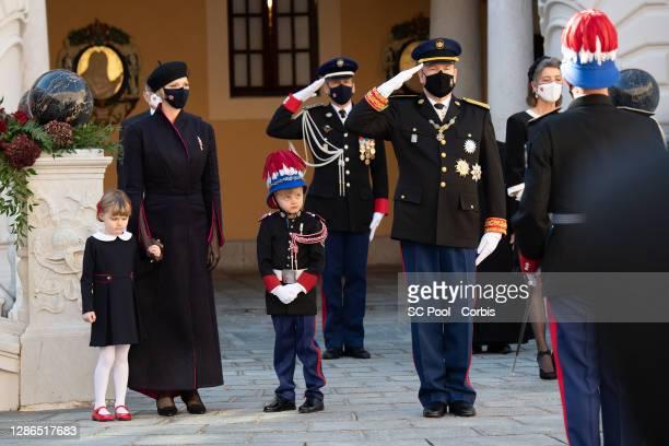Princess Gabriella of Monaco, Princess Charlene of Monaco, Crown Prince Jacques of Monaco, Prince Albert II of Monaco and Princess Caroline of...
