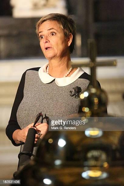 Princess Gloria Von Thuen Und Taxis visits the Notre Dame Church on September 29, 2013 in Brussels, Belgium.