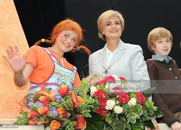 Princess Gloria von Thurn und Taxis and her nephew Hubertus von SchoenburgGlauchau and Lena Ottenbacher after the play 'Pippi Langstrumpf' at the...