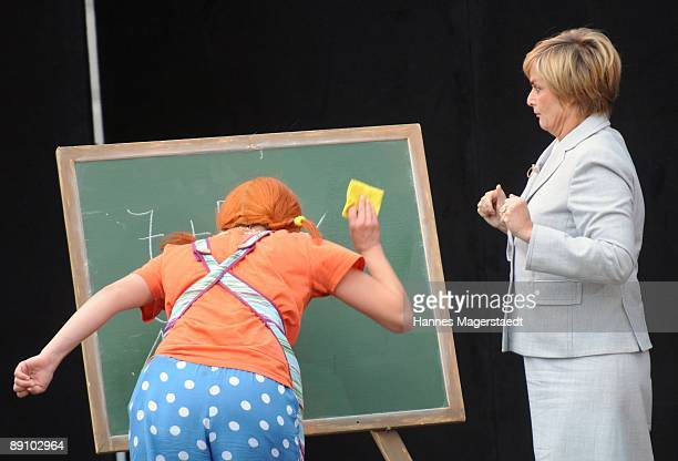 Princess Gloria von Thurn und Taxis and Lena Ottenbacher during the play 'Pippi Langstrumpf' at the Thurn and Taxis castle festival on July 19 2009...