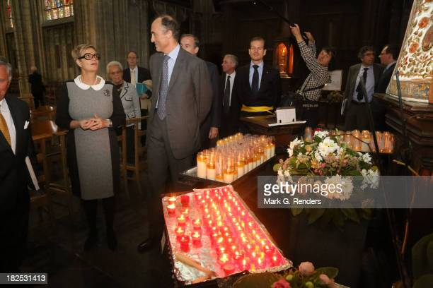 Princess Gloria Von Thurn Und Taxis and Prince Lorentz of Belgium visit the Notre Dame Church on September 29, 2013 in Brussels, Belgium.