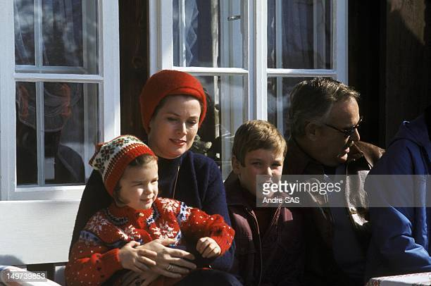 Princess Grace and Prince Rainier with children Princess Stephanie and Prince Albert, Circa 1960 in Switzerland.