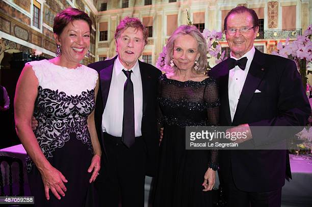 Princess Grace Awards Gala Honorees Sibylle Szaggars Redford and Robert Redford Sir Roger Moore and Kristina Tholstrup attend the 2015 Princess Grace...