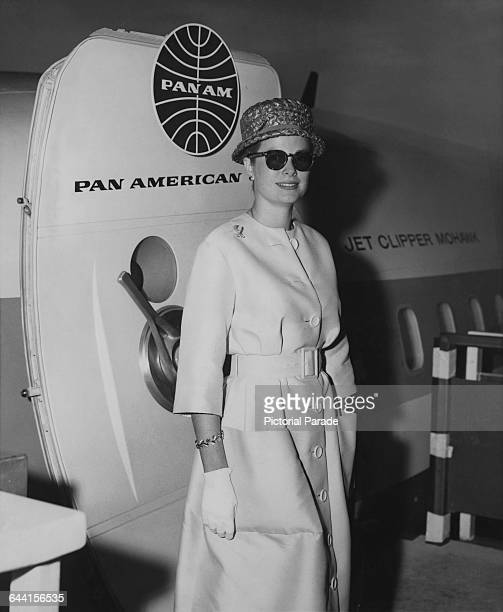Princess Grace of Monaco American former actress Grace Kelly standing by the Pan American World Airways Boeing 707321 airliner Clipper Mohawk circa...