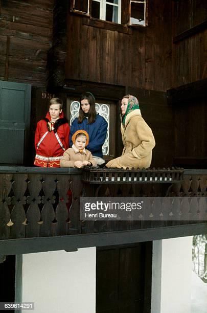 Princess Grace of Monaco and her children Prince Albert Princess Stephanie and Princess Caroline on a ski trip