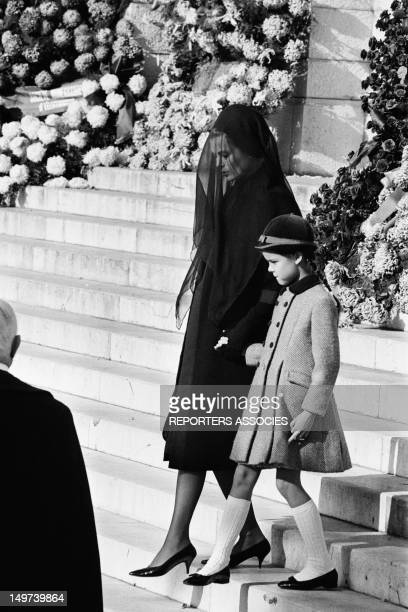 Princess Grace of Monaco and her daughter Caroline of Monaco at the funeral of Prince Pierre of Monaco in Monaco November 17 1964