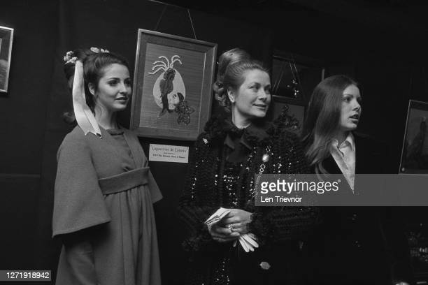 Princess Grace of Monaco and her daughter Princess Caroline attend the first exhibition by actress and artist Ludmilla Nova at the Stanley Hall...