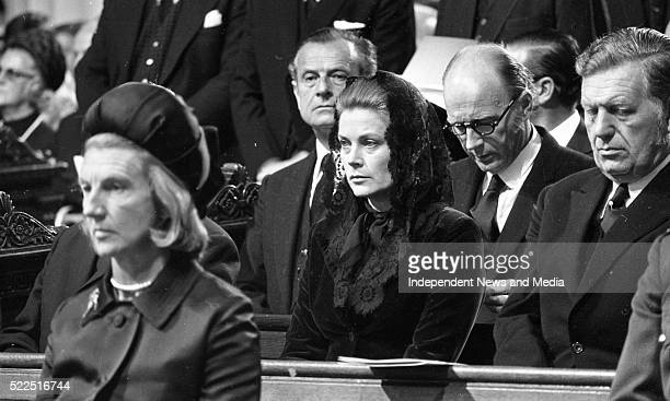Princess Grace of Monaco and in front Mrs Vera Cosgravewife of Taoiseach Liam CosgraveTD in the ProCathedral for the Mass of the late President Eamon...