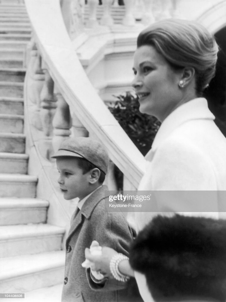 Princess GRACE of MONACO and Prince ALBERT about to celebrate the baptism of Princess STEPHANIE, on March 14, 1965.
