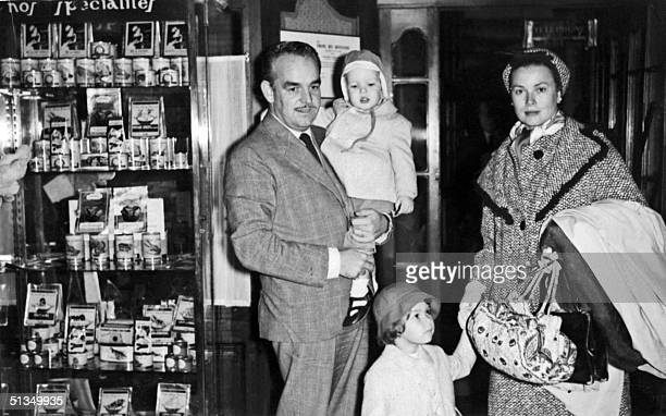 Princess Grace of Monaco and Prince Rainier III of Monaco and their two children Princess Caroline and 19monthold Prince Albert leave 29 October 1959...