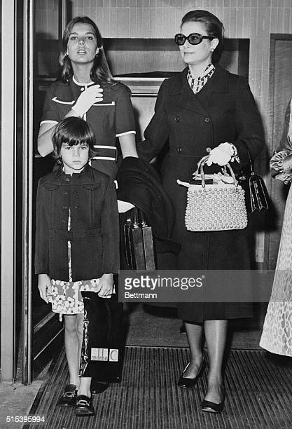Princess Grace of Monaco arrives at the London Airport with her children Princess Caroline and Princess Stephanie 6 The family had come for a private...