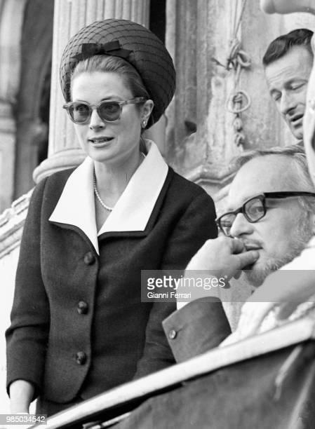 Princess Grace of Monaco attending a bullfigh twith her husband the Prince Rainier of Monaco Sevilla, Spain. .