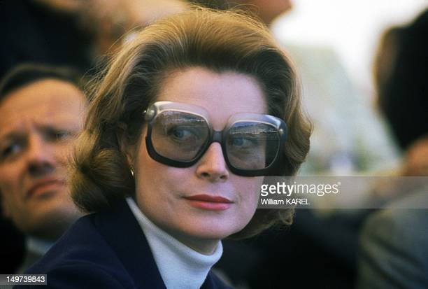 Princess Grace of Monaco attending the Oxford Cambridge boat race on the Seine river on May 1, 1975 in Paris, France.