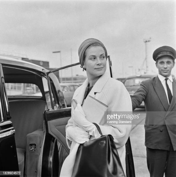Princess Grace of Monaco , former actress Grace Kelly, at the airport, UK, 8th July 1965.