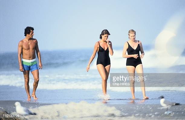 Princess Grace of Monaco, her daughter Princess Caroline and Philippe Junot in New Jersey, United States on July, 1978.