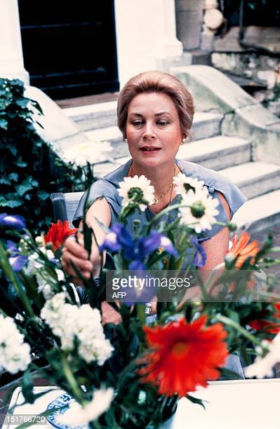 Princess Grace of Monaco poses in her garden at home in June 1981 in Paris Grace Kelly American born who married Prince Rainier III of Monaco in 1956...