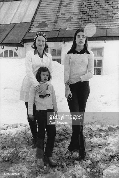 Princess Grace of Monaco poses in the snow with her daughters Stephanie and Caroline . Monaco's Royal Family is visiting Zurs, Austria, on a winter...