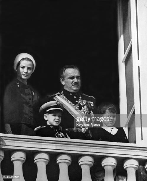 Princess GRACE of MONACO Prince RAINIER III and their two children CAROLINE and ALBERT attending the National Day celebration in Monaco