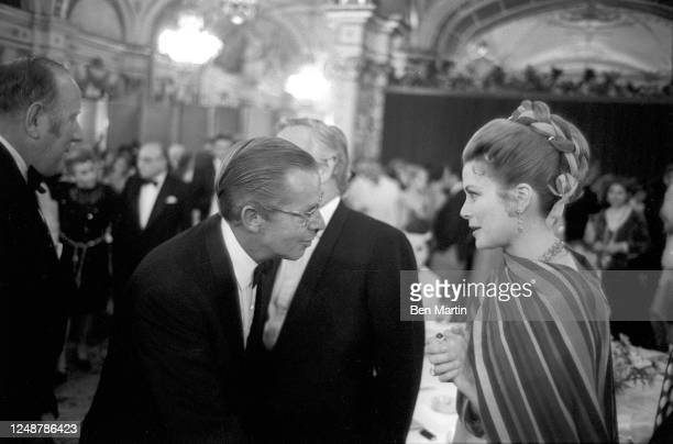 Princess Grace of Monaco , Rainier III, Prince of Monaco and Lincoln Kirstein at gala reception and others following performance of Jewels by New...