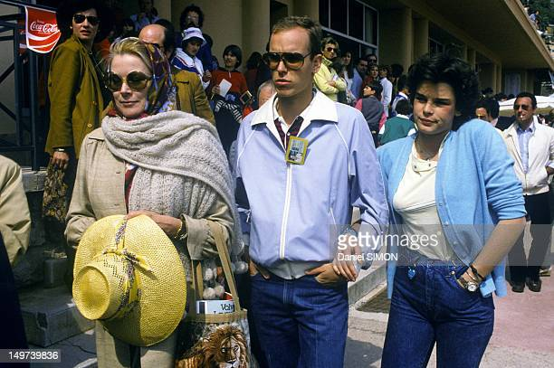 Princess Grace of Monaco with her children Prince Albert and Princess Stephanie at Monaco Tennis Tournament on April 5 1982 in Monaco