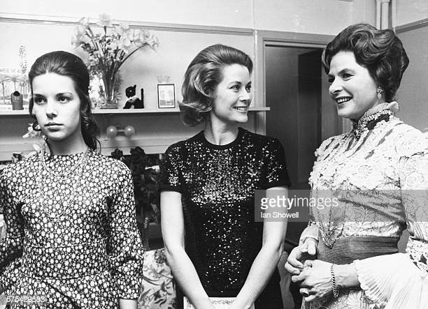 Princess Grace of Monaco , with her daughter Caroline , chatting to actress Ingrid Bergman after her performance in the play 'Captain Brassbound's...
