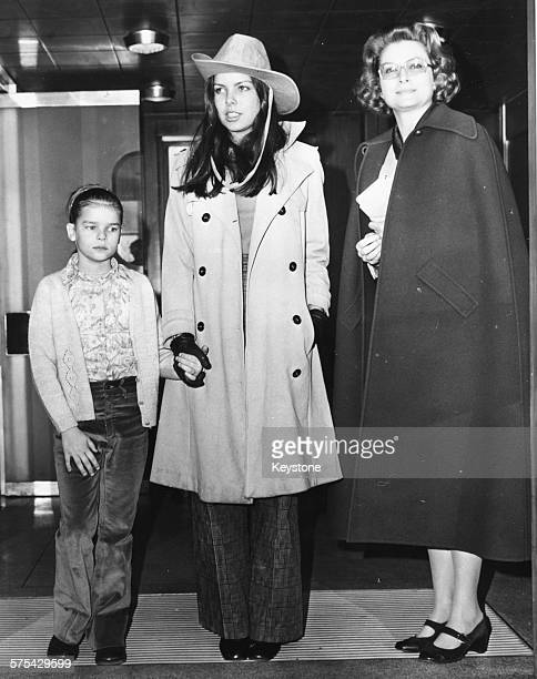 Princess Grace of Monaco with her daughters Stephanie and Caroline at London Airport March 29th 1973