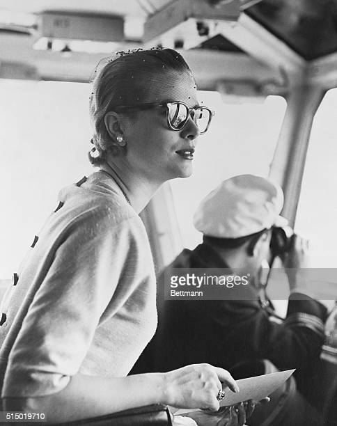 Princess Grace of Monaco witnessing air operations from Adm. Murr E. Arnold's bridge, aboard the U.S.S. Forrestal, now on a Mediterranean Cruise. The...
